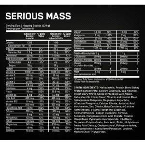 Состав Optimum Nutrition Serious Mass